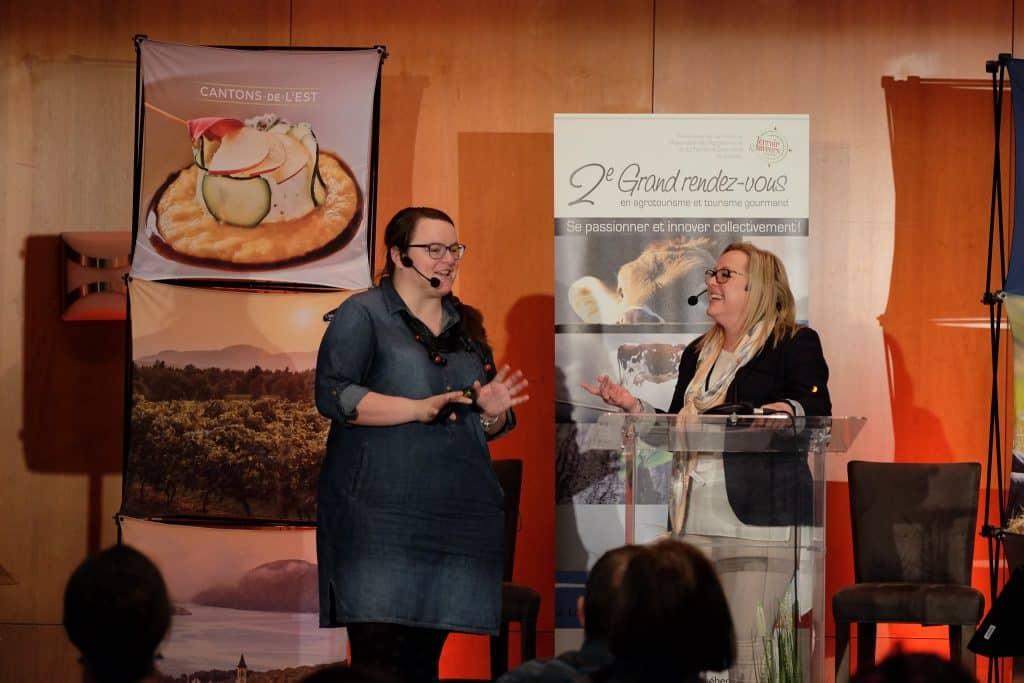 Jennifer Doré Dallas speaking at a terroir conference in Quebec