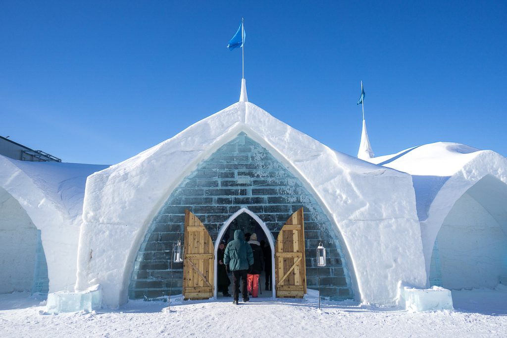 Entrance of the Ice Hotel in Quebec City